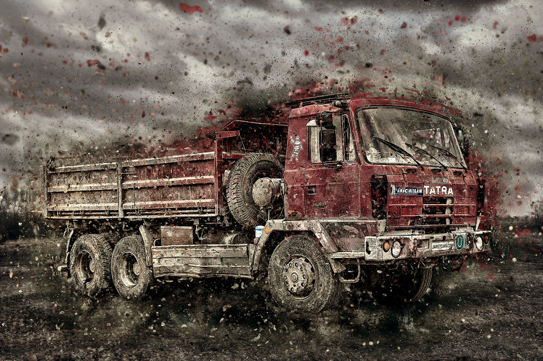 červená Tatra 815 6x6 třístranný sklápěč  efekty photosop