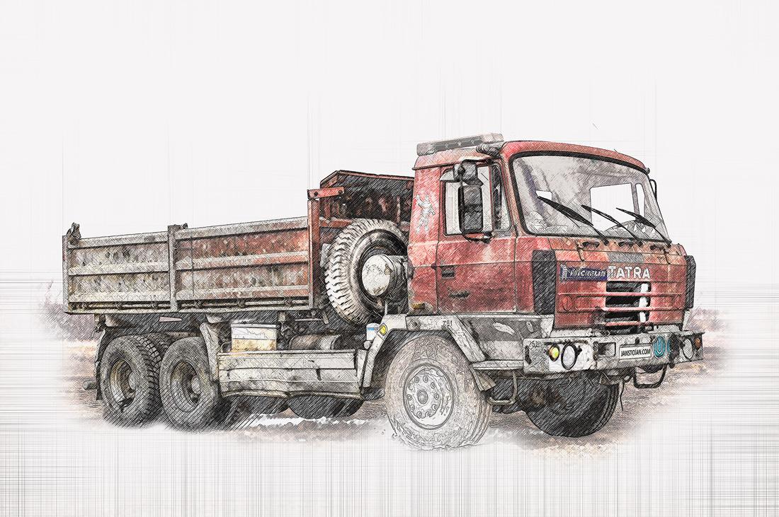 photosop malba červená Tatra 815 6x6 třístranný sklápěč