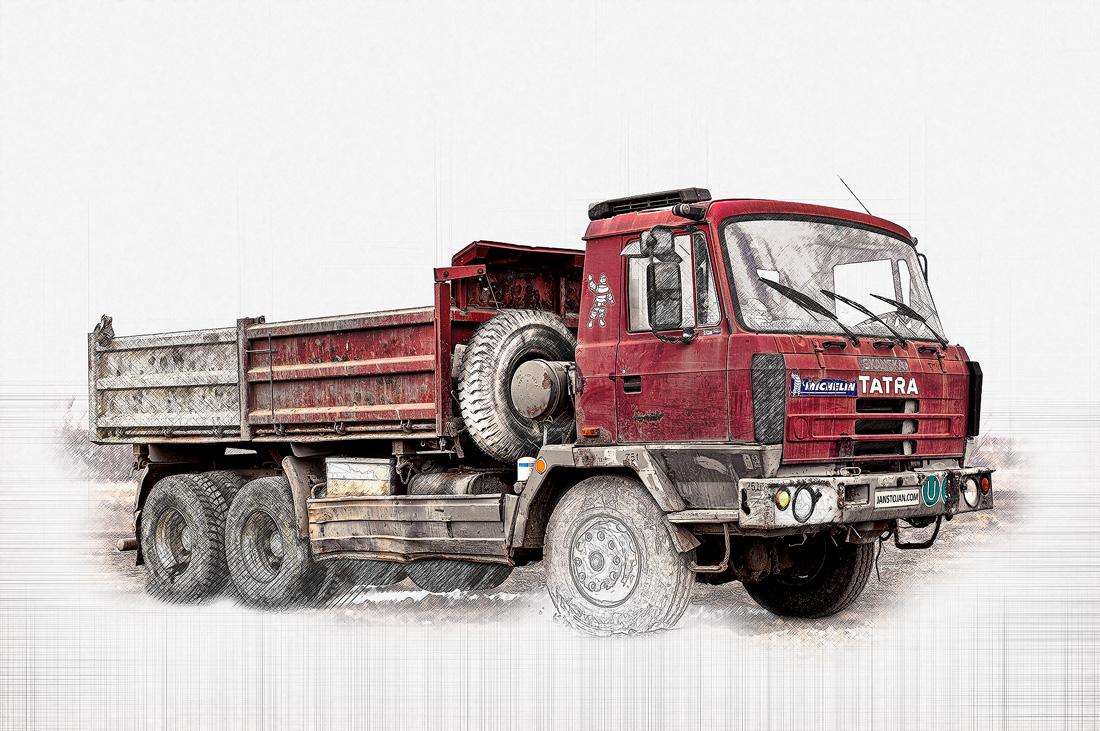 malba červená Tatra 815 6x6 třístranný sklápěč