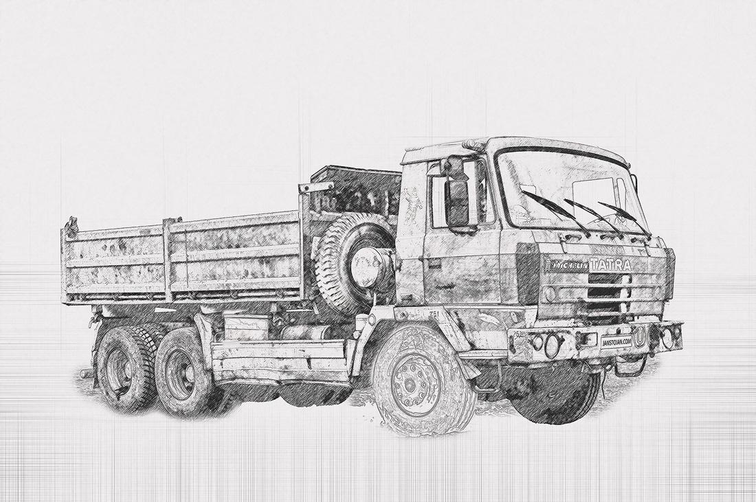 skica Tatra 815 6x6 třístranný sklápěč