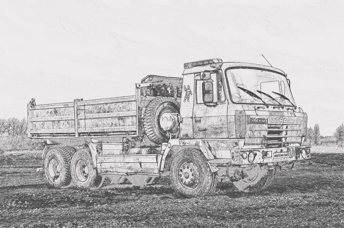 Tatra 815 6x6 třístranný sklápěč namalovaná tužkou