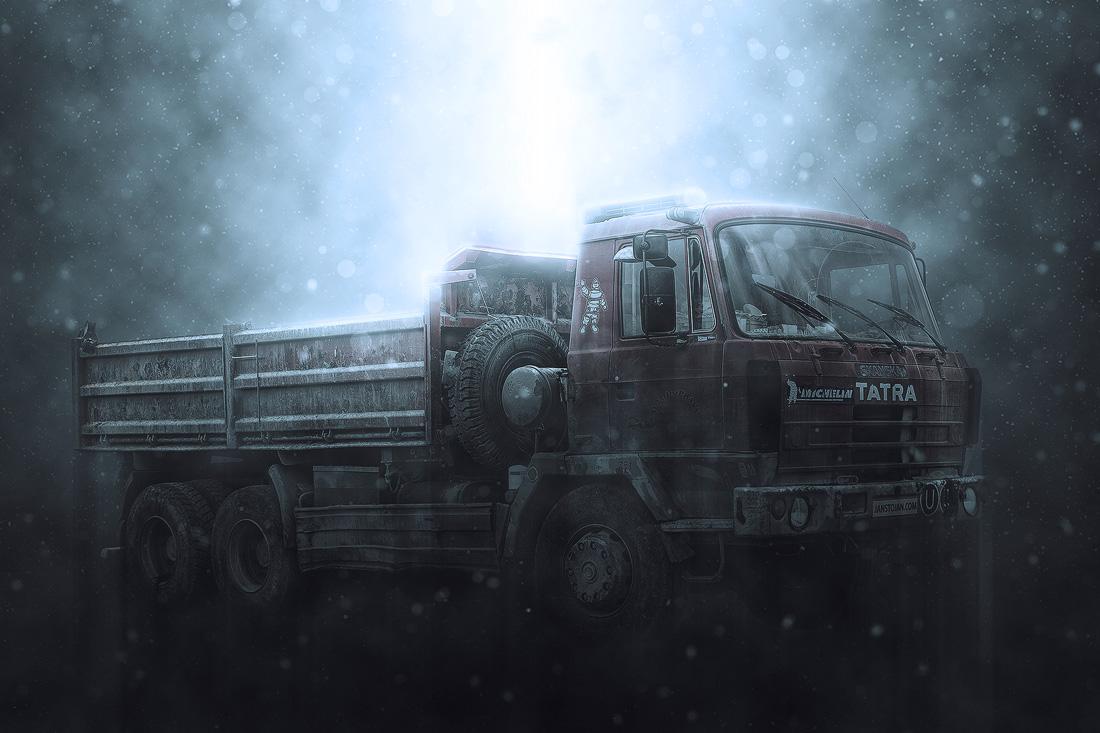 Tatra 815 6x6 třístranný sklápěč ve sněhové bouři