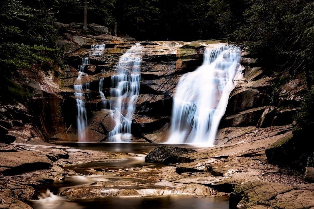 Dlouhá expozice mumlavského vodopádu