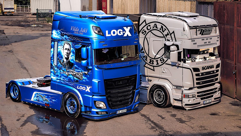 Truck SCANIA R520 společnosti ZZTRANS a kamion DAF THE BOXER, Vilda Jakš společnosti LOG-X