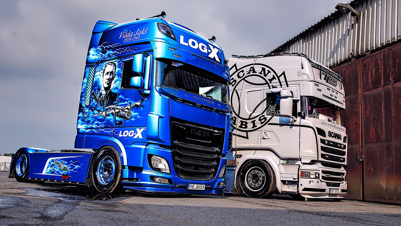 Tahač SCANIA R520 společnosti ZZTRANS a náklaďák DAF THE BOXER, Vilda Jakš společnosti LOG-X
