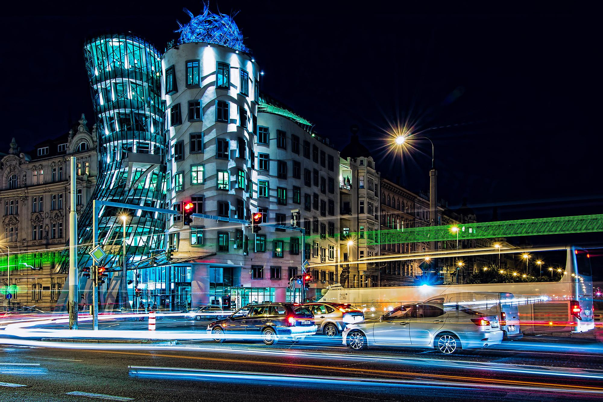 Tančící dům Praha noc jan stojan fotograf pentax